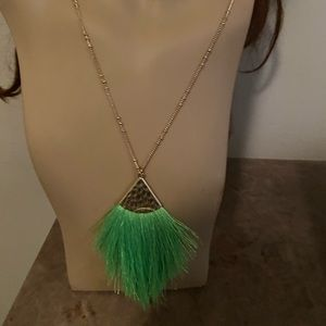 Jewelry - Neon green feathery look necklace.